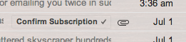 Gmail confirms subscription with one-click button