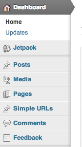 WordPress 3.7 Dashboard Menu