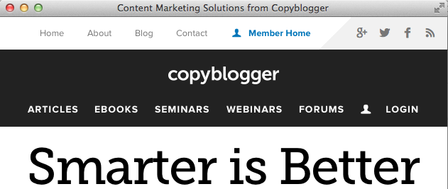 Copyblogger is responsive, just not the logo
