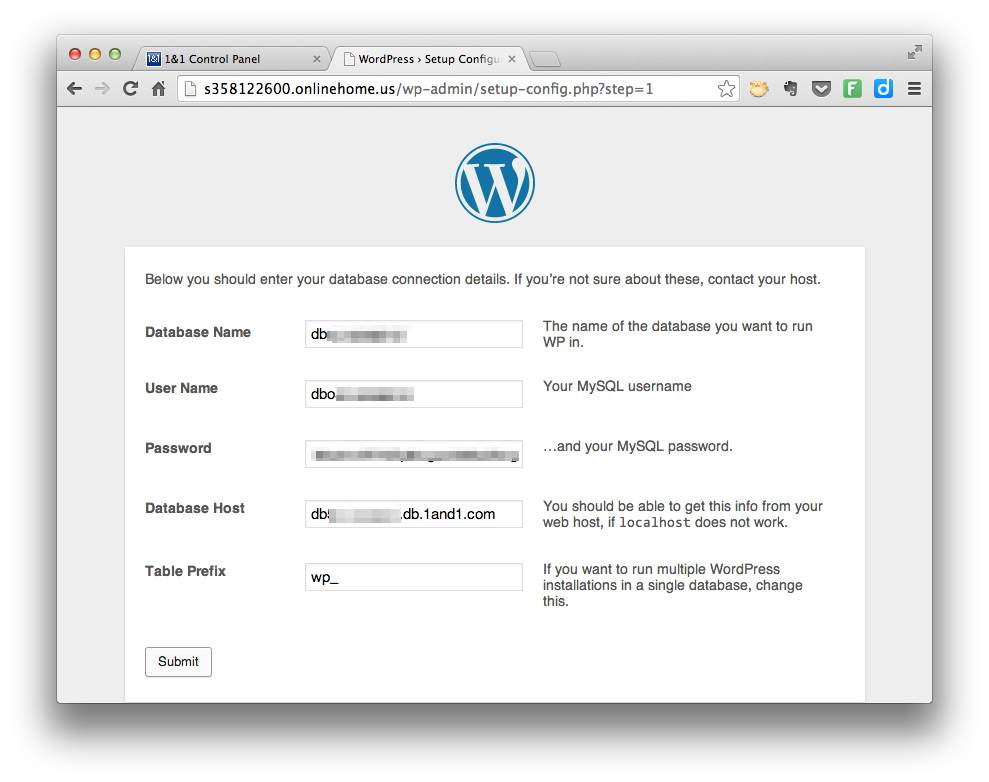 Install WordPress - Database Information