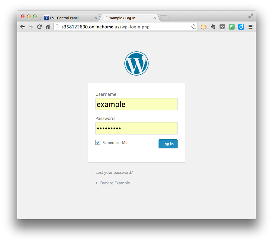 Install WordPress - Log In
