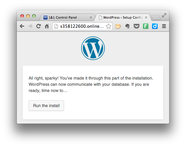 Install WordPress - Run the Install