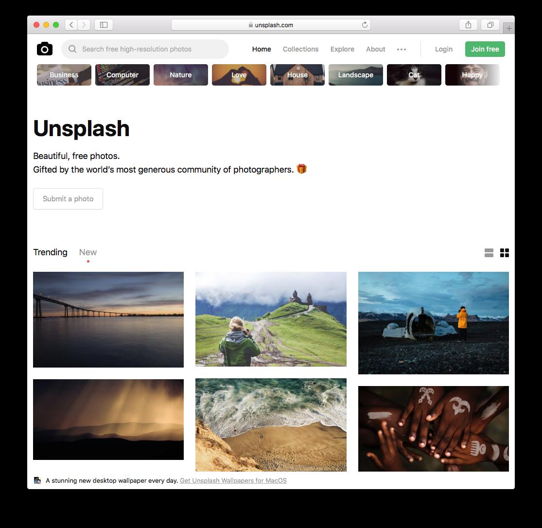 Unsplash.com Homepage